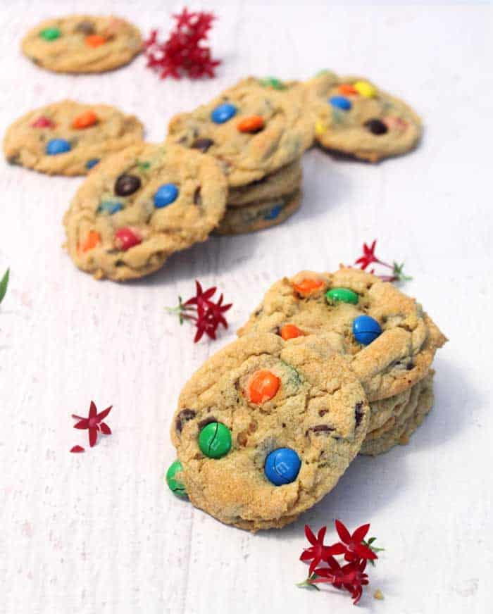 M&Ms Chocolate Chip Cookies tall | 2 Cookin Mamas
