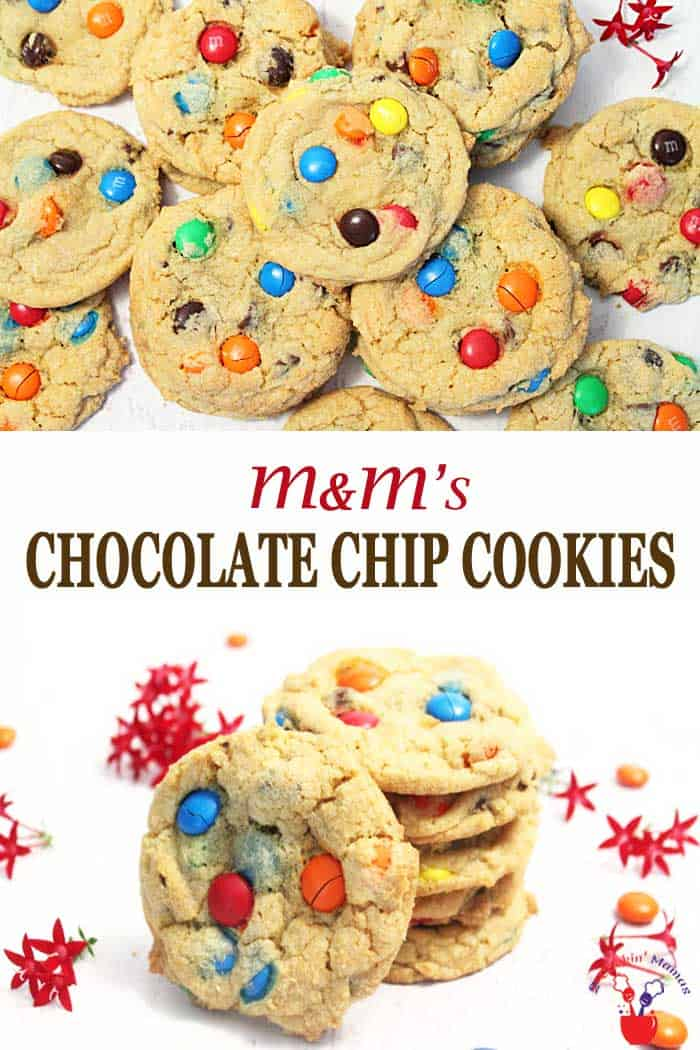 Delicious bakery-style M&Ms Chocolate Chip Cookies are ultra soft and chewy on the inside with a slight crisp on the outside. Loaded with chocolate chips and packed with M&Ms takes these chocolate cookies from ordinary to extraordinary! #cookies #chocolatechip #M&Ms #recipe