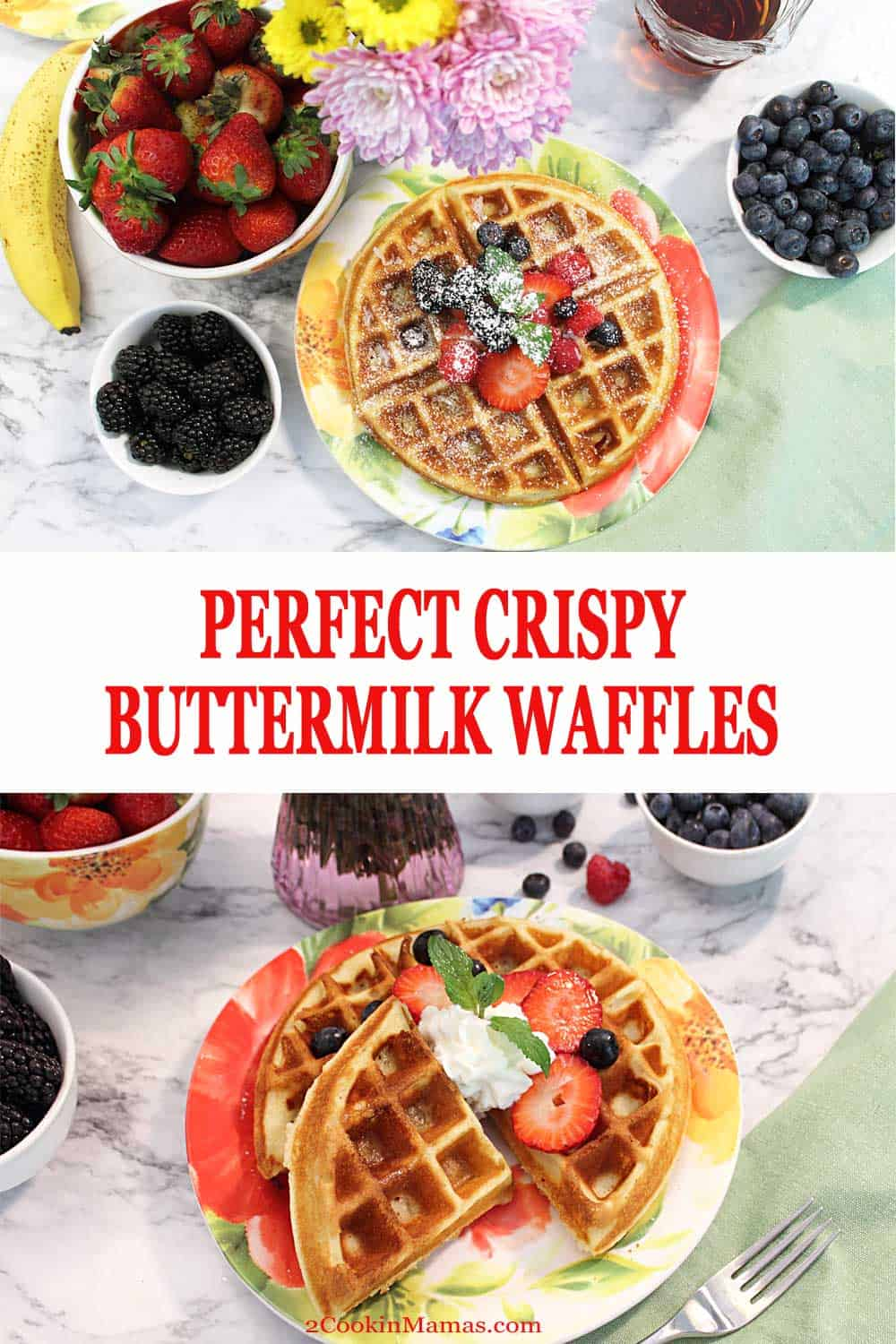 Crispy Buttermilk Waffles 2 | 2 Cookin Mamas Find out the secret ingredient and trick that makes these waffles the best you've ever had! The perfect waffles - crunchy on the outside, soft on the inside and super delicious! Great for weekend mornings and special enough for Mother's Day and Father's Day. #waffles #breakfast #recipe #easy #buttermilk #mothersday #fathersday #brunch