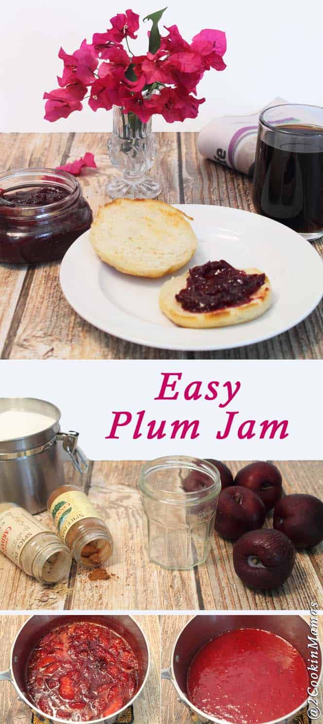 Plum Jam | 2 Cookin' Mamas Over ripe plums? No problem! A sweet & delicious jam that is so easy to make you'll wonder why you never made it before now. #recipe #jam