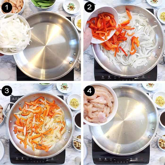 First 4 steps for stir fry.