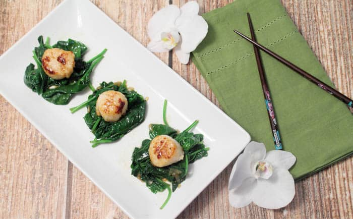 Seared Sea Scallops over Garlic Spinach overhead | 2 Cookin' Mamas