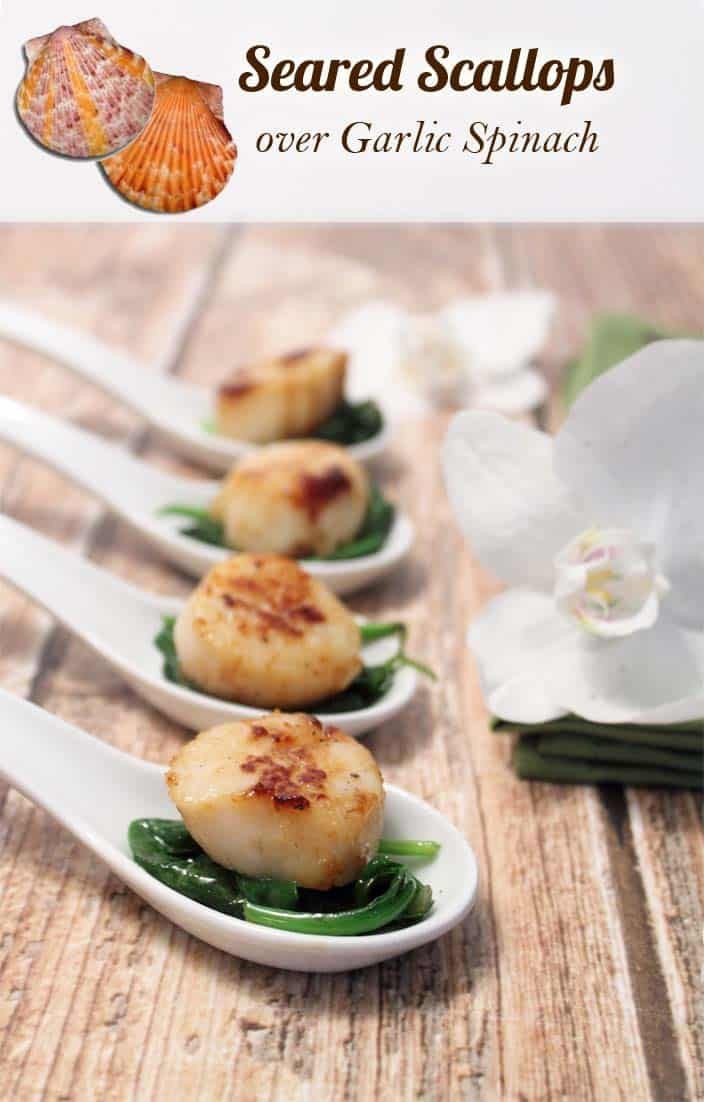 Seared Sea Scallops over Garlic Spinach | 2 Cookin' Mamas Delicious & super healthy dinner on the table in less than 10 minutes! #scallops #recipe #dinner #easyrecipe #seascallops #seafood #appetizer