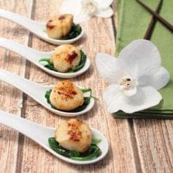 Seared Scallops over Spinach square | 2 Cookin Mamas