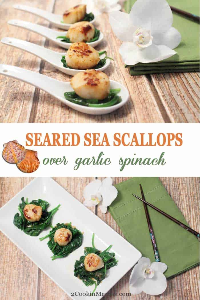 Seared Sea Scallops over Garlic Spinach | 2 Cookin Mamas If you love scallops and easy dinners then this Sea Scallops over Garlic Spinach is for you! It takes less than 20 minutes and it's made all in one pan Just sear the scallops, cook the spinach with garlic til it wilts then set the scallops on top & you've got a gourmet dinner in minutes! Makes great appetizers too! #scallops #recipe #dinner #easyrecipe #seascallops #seafood #appetizer
