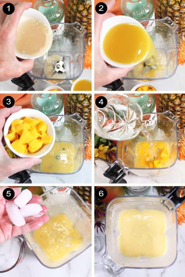 Easy steps for making mango colada.