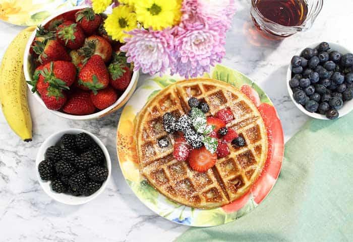 Waffle breakfast with fruit overhead