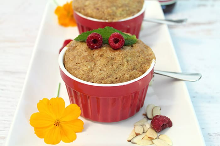 Almond Butter Mug Cake raspberry garnish | 2 Cookin Mamas
