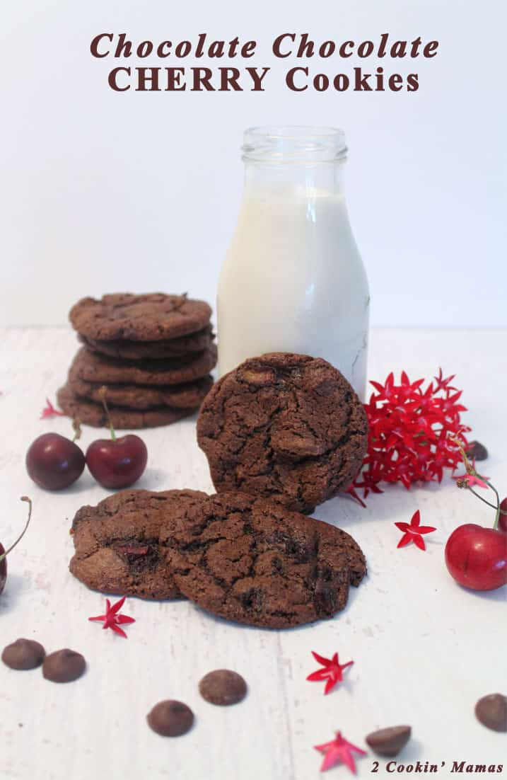 Rich Chocolate Chocolate Cherry Cookies are a chocolate lovers delight! Dark chocolate cookies are filled with fresh cherries & dark chocolate chips. #chocolatecookies #cherrycookies #darkchocolatechips #cookies