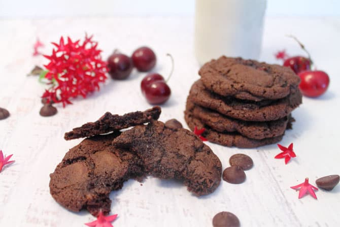 Chocolate Chocolate Cherry Cookies take a bite | 2 Cookin Mamas