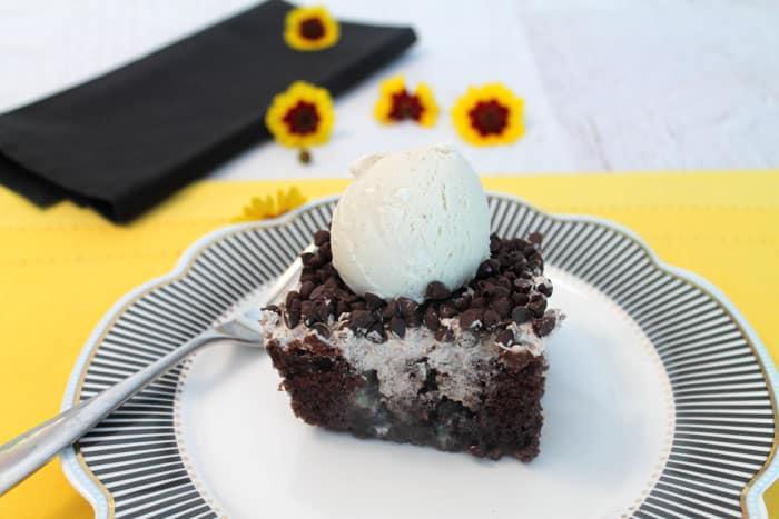 Chocolate Poke Cake serving | 2 Cookin Mamas