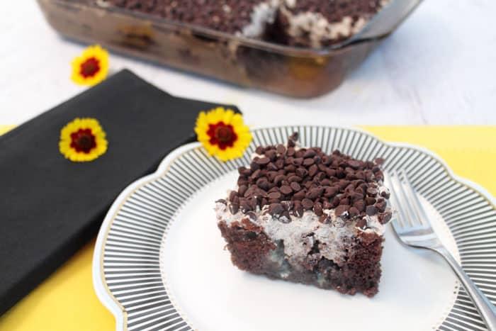 Chocolate Poke Cake serving1 | 2 Cookin Mamas