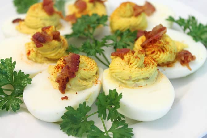 Deviled Eggs with Bacon closeup | 2 Cookin Mamas