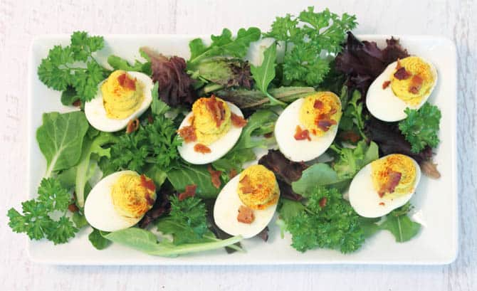 Deviled Eggs with Bacon overhead1   2 Cookin Mamas
