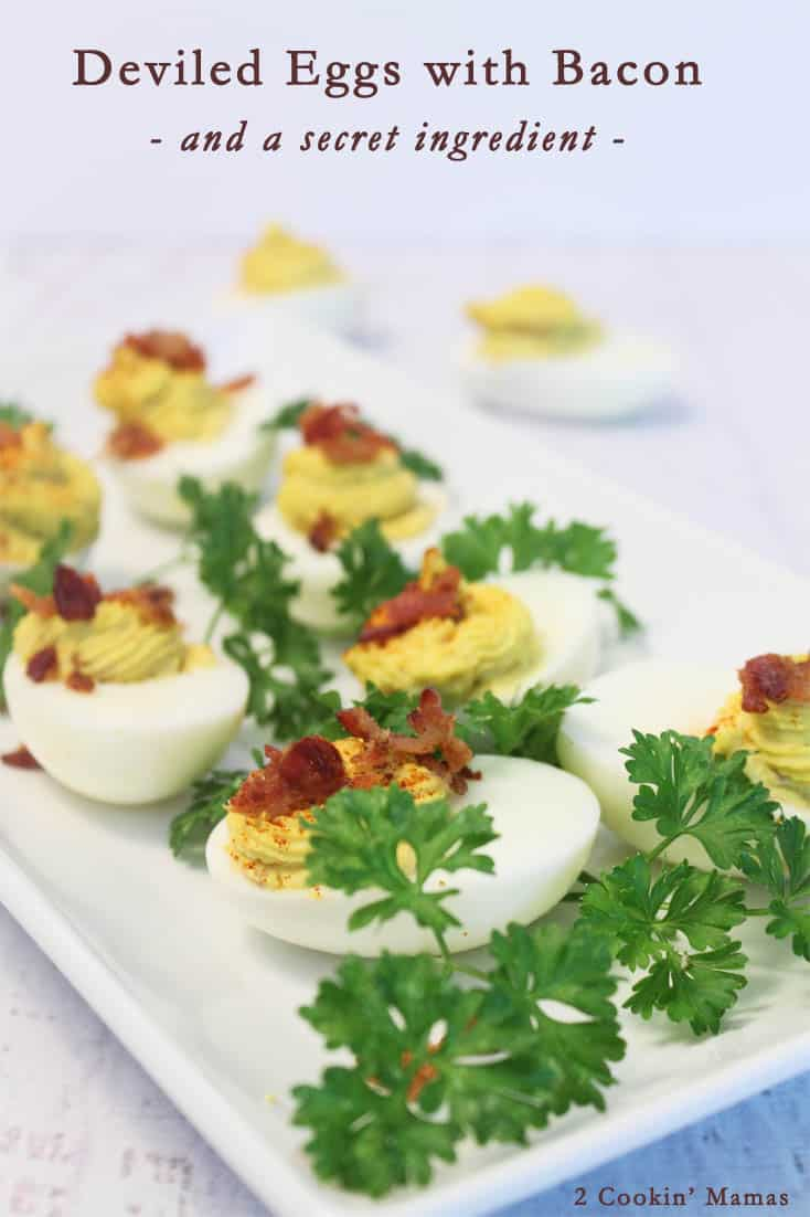 Deviled Eggs with Bacon | 2 Cookin Mamas A great addition to any picnic! Easy to make with a secret ingredient that puts them over the top! #recipe #side dish