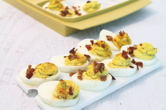 Deviled Eggs with Bacon ready for picnic   2 Cookin Mamas