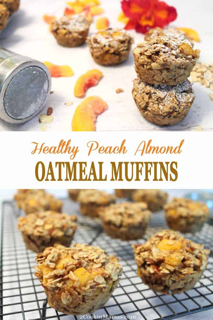 Easy to make Peach Almond Oatmeal Muffins are a healthy start to any day. Packed full of oatmeal, peaches & almonds, it\'s the perfect breakfast on-the-go. #quickbreakfast #onthegobreakfast #healthybreakfast #oatmealmuffins #peaches #oatmeal #glutenfreemuffins