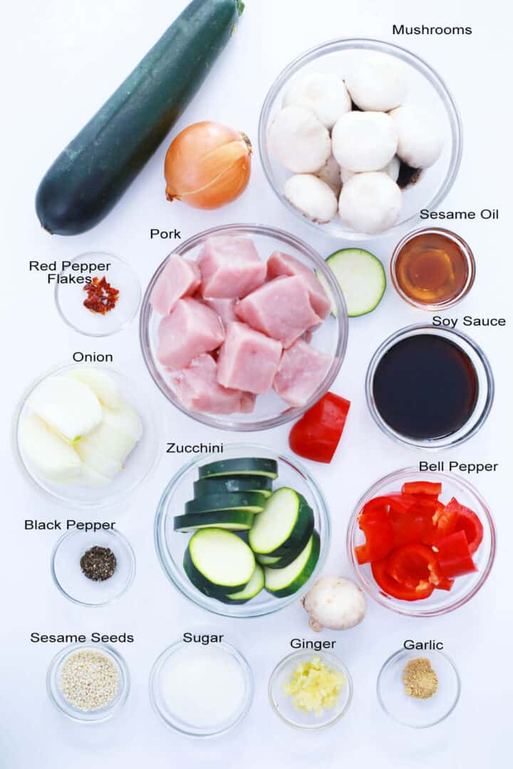 Ingredients for kabobs and marinade.