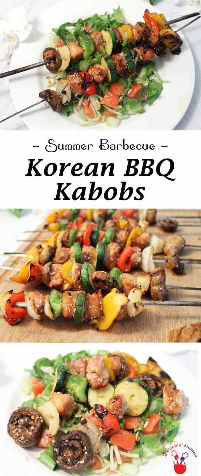 Nothing is easier or more delicious than Korean BBQ Kabobs. Choose your favorite meat & veggies, marinate, then grill. Dinner in 30! #30minutedinner #bulgogi #beefkabobs #Koreandish #porkdinner #grilleddinner