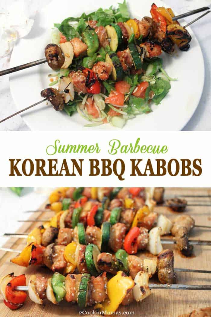 Korean BBQ Kabobs | 2 Cookin Mamas Nothing is easier or more delicious than Korean BBQ Kabobs. Choose your favorite meat & veggies, marinate, then grill. Dinner in 30! #30minutedinner #bulgogi #porkkabobs #Koreandish #pork #grilleddinner #grilling #kabobs #recipe