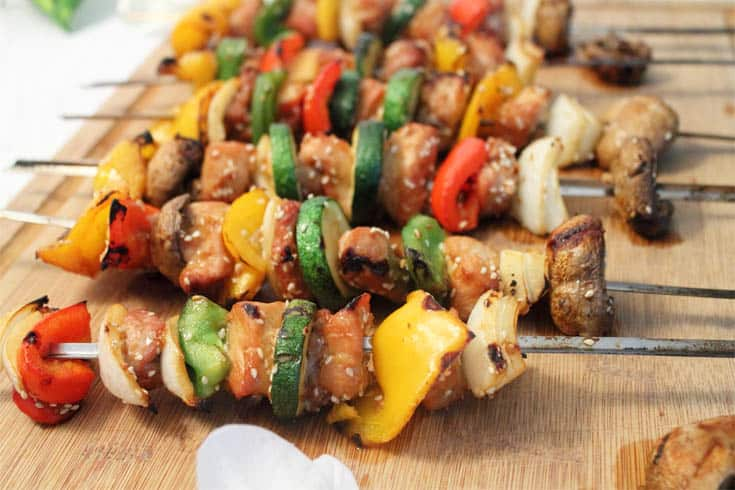 Korean BBQ Kabobs grilled closeup | 2 Cookin Mamas