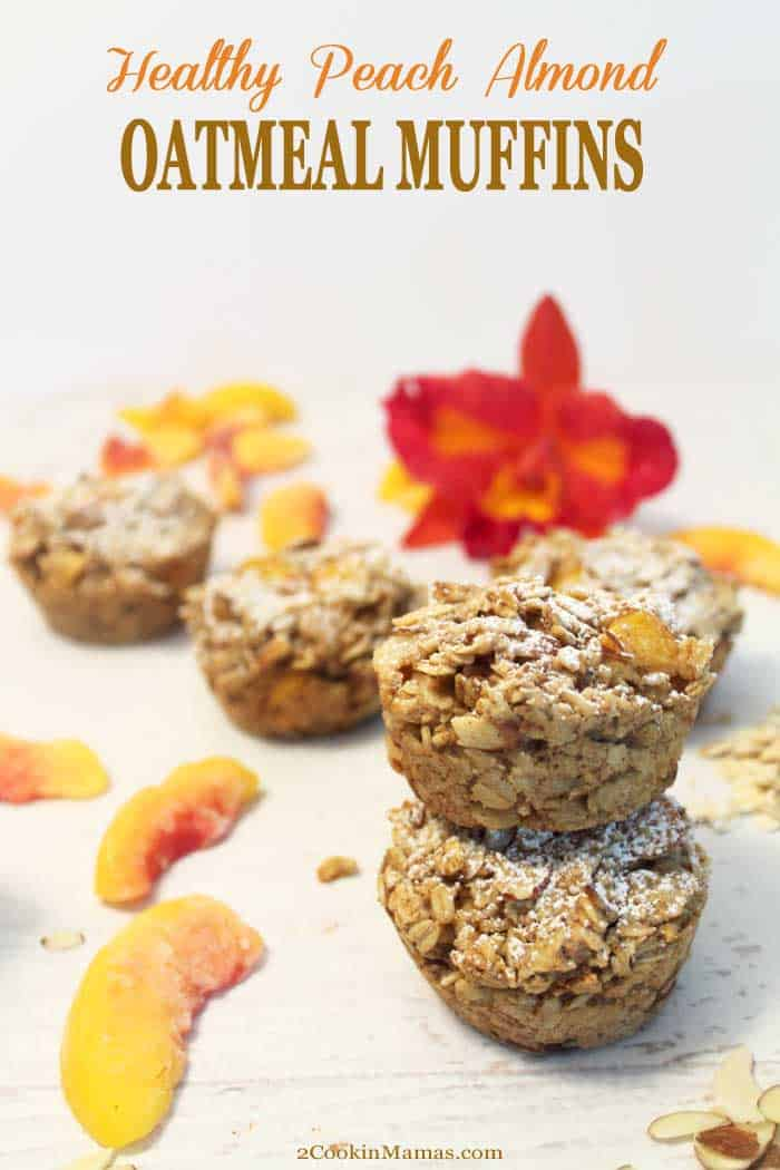 Peach Almond Oatmeal Muffins | 2 Cookin Mamas Easy to make Peach Almond Oatmeal Muffins are a healthy start to any day. Packed full of oatmeal, peaches & almonds, it's the perfect breakfast on-the-go. #quickbreakfast #onthegobreakfast #healthybreakfast #oatmealmuffins #peaches #oatmeal #glutenfreemuffins