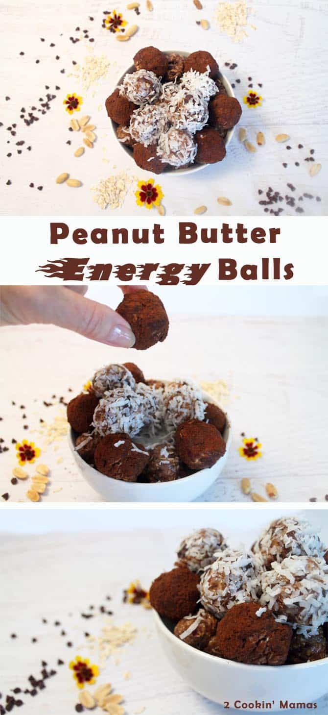 Peanut Butter Energy Balls | 2 Cookin Mamas This snack is so easy to make & healthy enough to have for breakfast. #recipe #energy balls #gluten-free #healthy