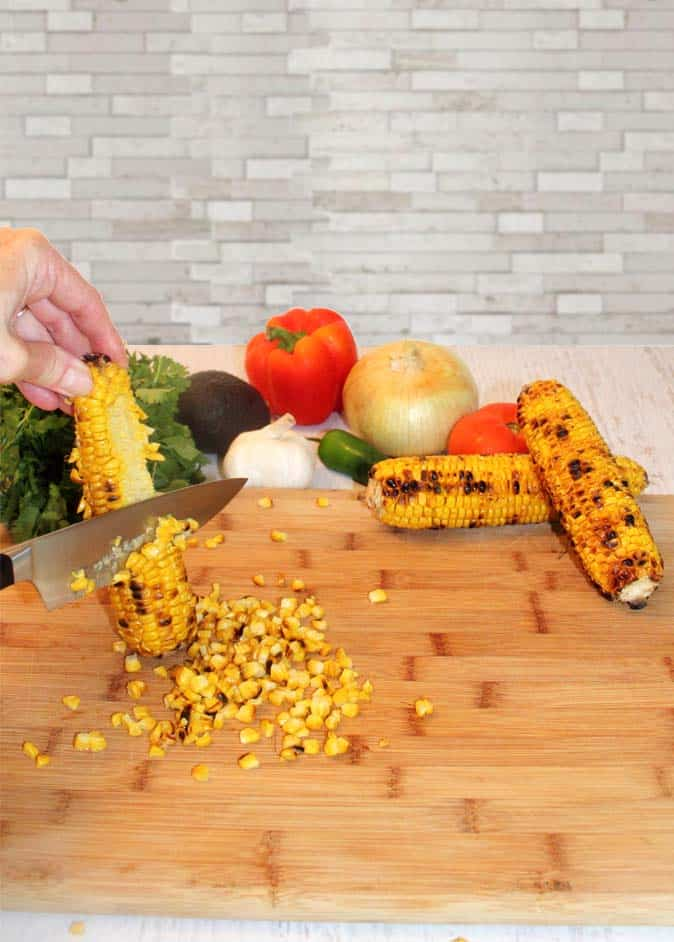 Roasted Corn Salad Cutting Corn Off Cob | 2 Cookin Mamas