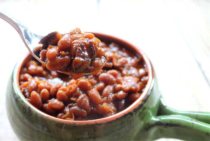 Bourbon Baked Beans spoonful | 2 Cookin Mamas
