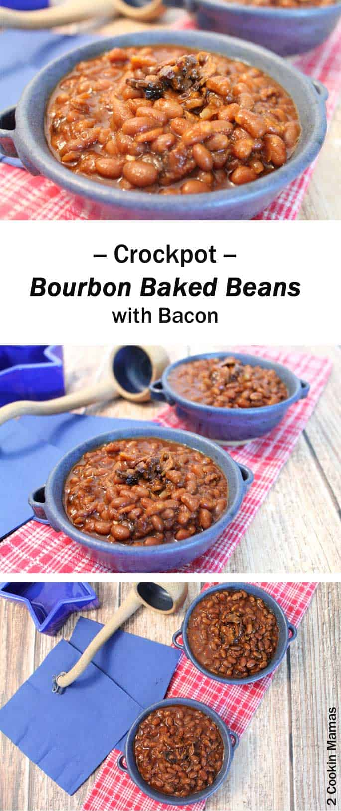 Bourbon-Baked-Beans | 2 Cookin Mamas Baked beans flavored with applewood smoked bacon, molasses, healthy BBQ sauce & a little bourbon. They're the perfect addition to your next BBQ. #recipe #BBQ