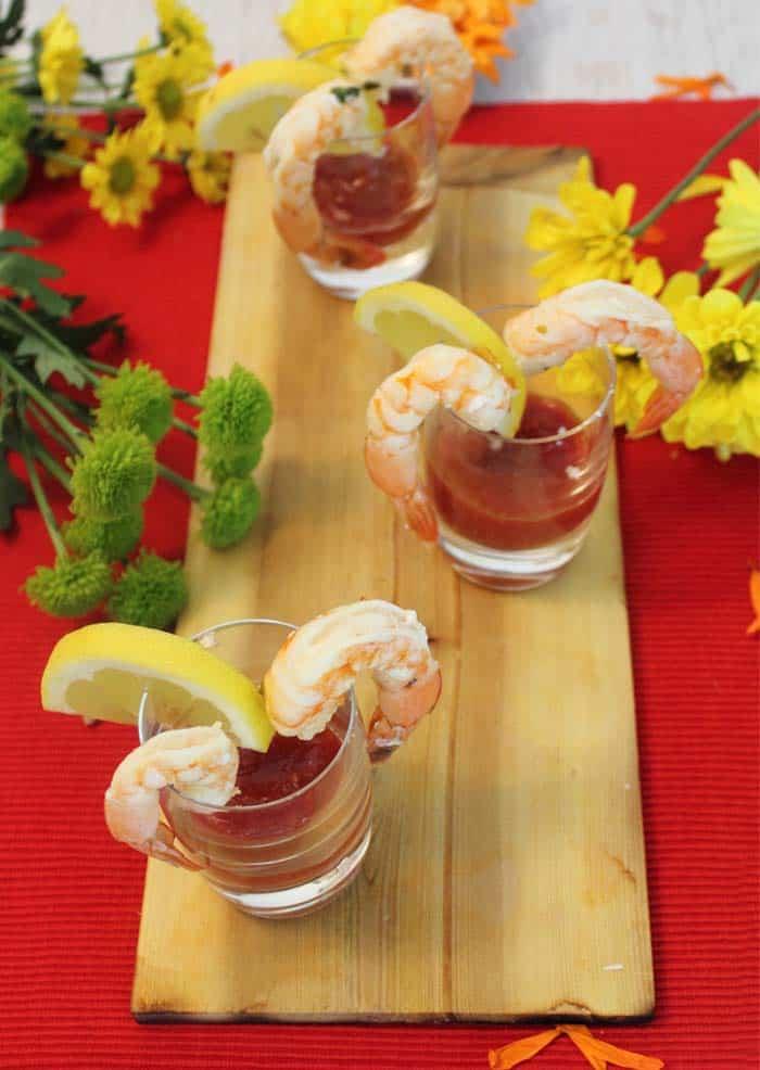 Cedar Plank Grilled Shrimp appetizers | 2 Cookin Mamas