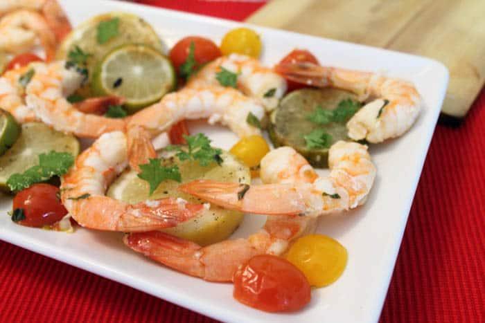 Cedar Plank Grilled Shrimp closeup | 2 Cookin Mamas