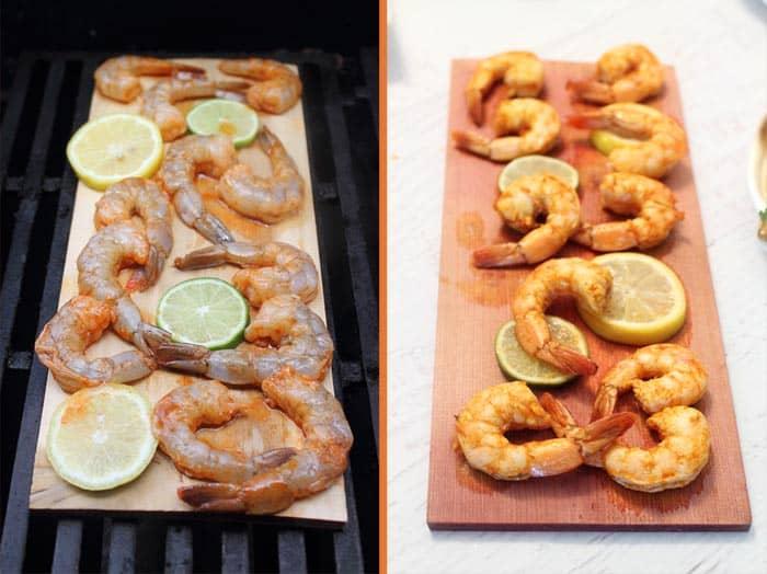 Cedar Plank Grilled Shrimp 1 | 2 Cookin Mamas