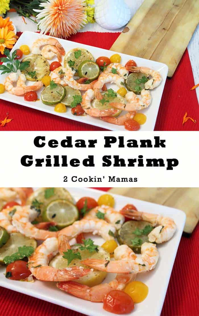 These Cedar Plank Grilled Shrimp have an unbelievable smoky flavor that's hard to beat. Serve them as a delicious dinner or as personal sized party appetizers. #shrimp #grilling #cedarplank #easydinner #dinner #appetizers
