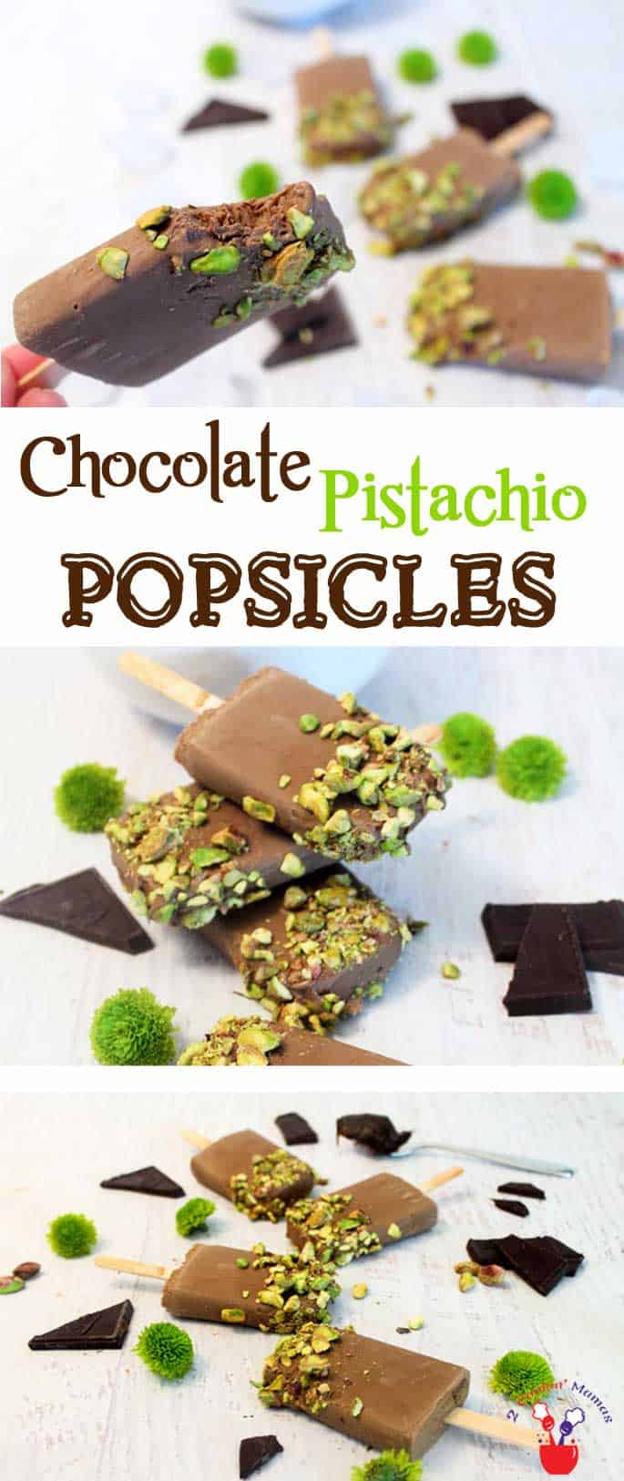 Chocolate Pistachio Popsicles main | 2 Cookin Mamas Easy 3-ingredient chocolaty pops that are sure to cool you off on a hot summer day.