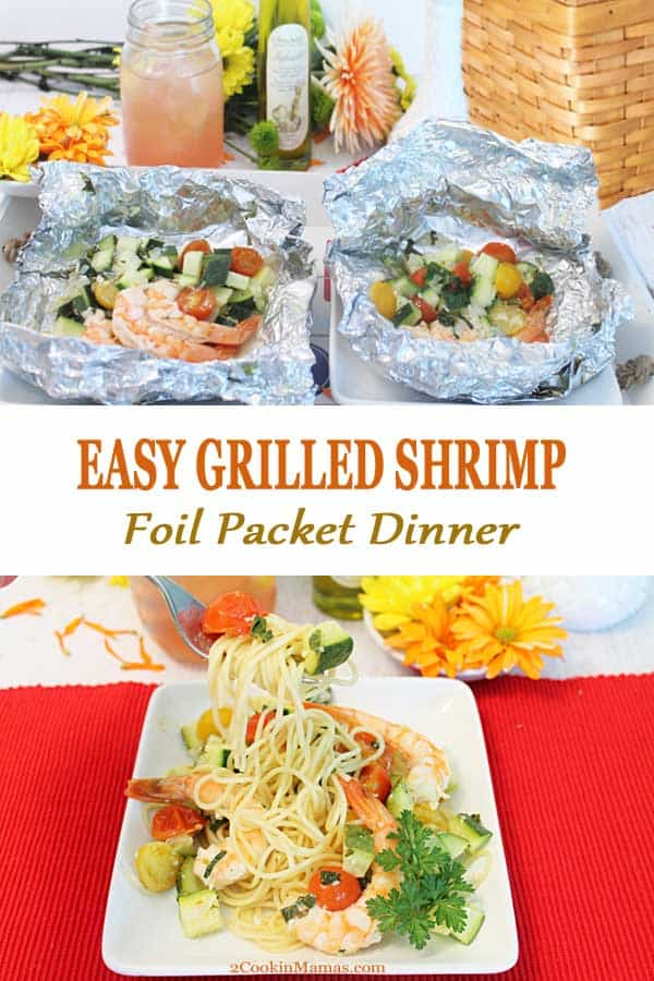 The easiest grilled shrimp foil packet dinner ever! Just marinate, wrap in foil & grill. Start with shrimp, zucchini, tomatoes and shallots are marinated in a lemon garlic wine sauce, then wrap in foil. When ready to cook, just throw on the grill at home or cook over a campfire. And the best part ... no messy cleanup and ready in 15 minutes. #shrimp #foilpackets #grilled #healthy #easy #recipe #camping #dinner