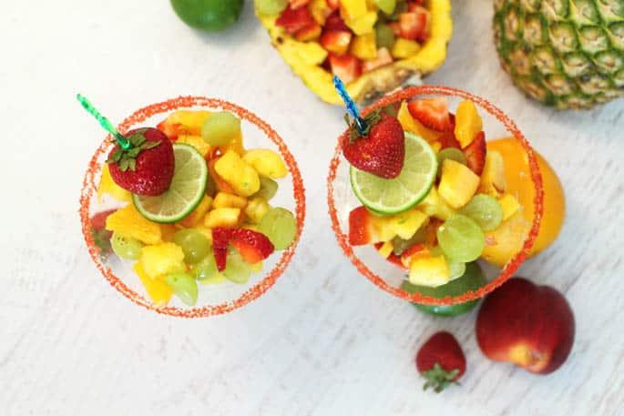 Fruit Cocktail Dessert overhead | 2 Cookin Mamas