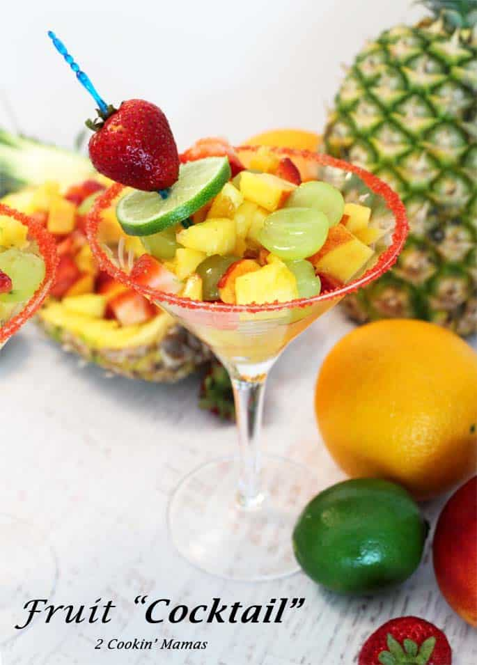 Fruit Cocktail Dessert | 2 Cookin Mamas The perfect adult after-dinner dessert! Light, full of fresh fruits & a touch of rum for that tropical touch.