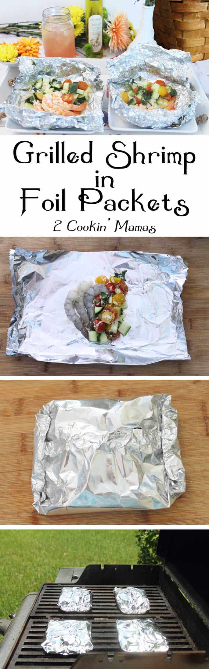 Grilled-Shrimp-Foil-Packet Dinner main | 2 Cookin Mamas Quick & easy dinner. Marinate, wrap in foil, grill & serve. Easy cleanup too! Great for backyard BBQs or campfires. #recipe