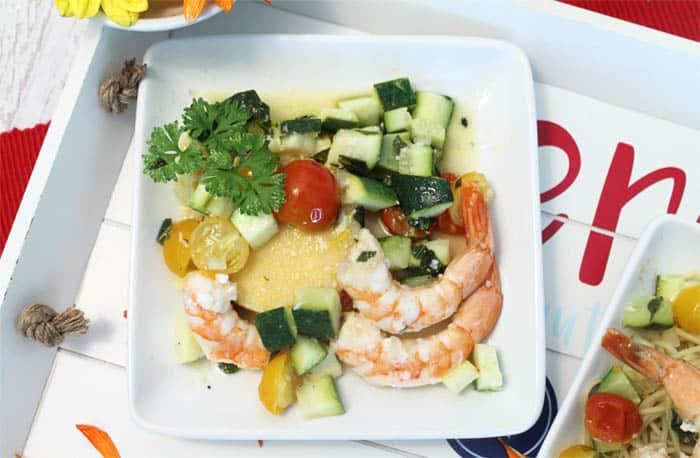 Grilled Shrimp Foil Packet Dinner polenta   2 Cookin Mamas