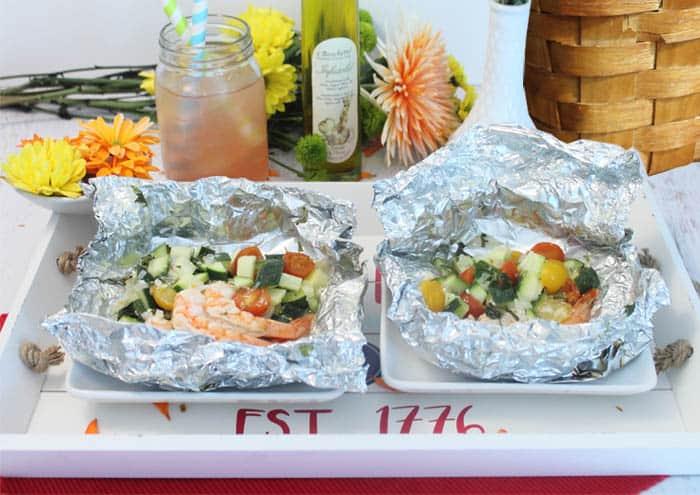 Grilled Shrimp Foil Packet Dinner served   2 Cookin Mamas