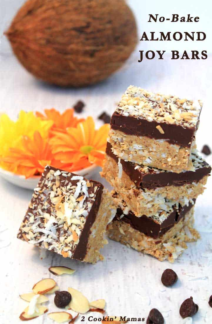 It's hot! So why bake when you can make these no bake almond joy cookie bars. Full of almond flavor, coconut & chocolate, just like that famous candy bar. #almondjoycookies #nobakebars #barcookies #almonds #coconut