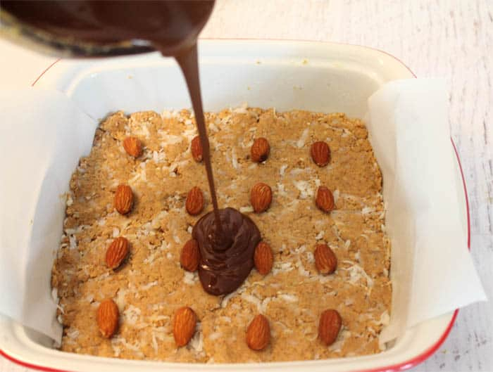 No Bake Almond Joy Bars prep | 2 Cookin Mamas