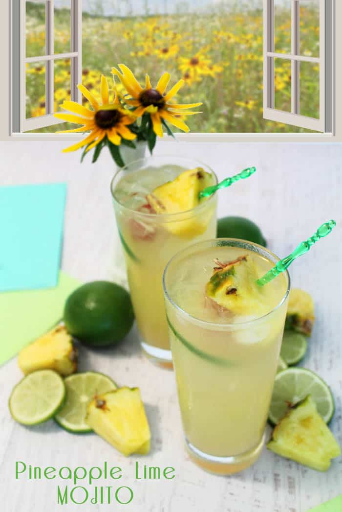 Pineapple Coconut Mojito pin| 2 Cookin Mamas Flavors of the tropics just burst into your mouth with this refreshing & easy to make cocktail. Great with or without rum & perfect for hot summer days. #recipe #cocktail #drink