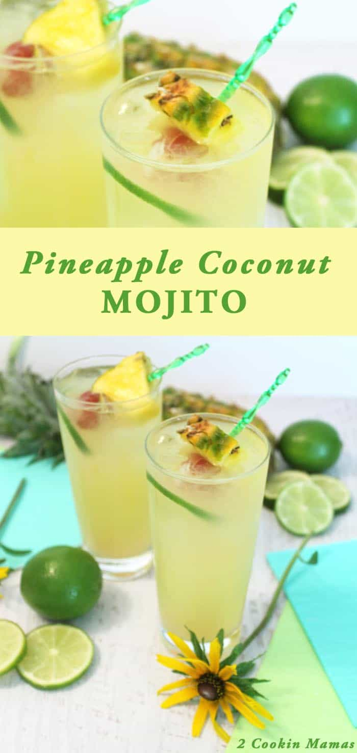 You put the lime in the coconut & shake it all up! For the perfect summer cocktail add some pineapple too & go all tropical with a Pineapple Coconut Mojito. #cocktail #summercocktail #mojito #pineapple #recipe
