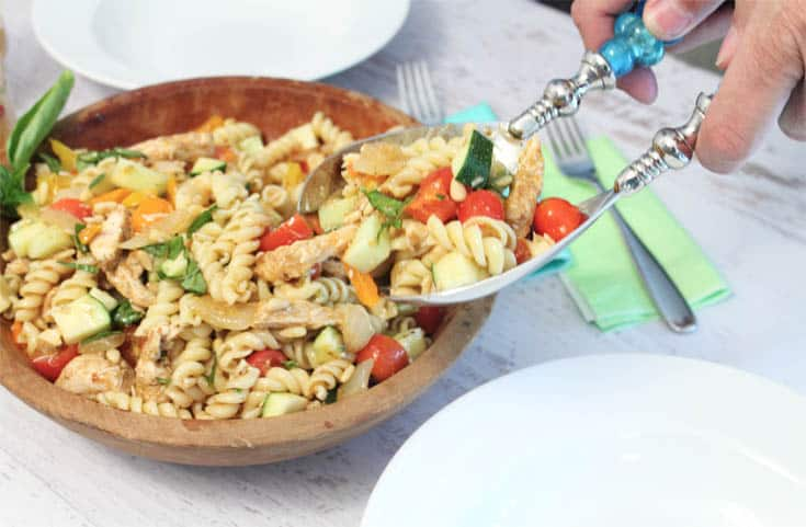 Summer Pasta Salad serving | 2 Cookin Mamas