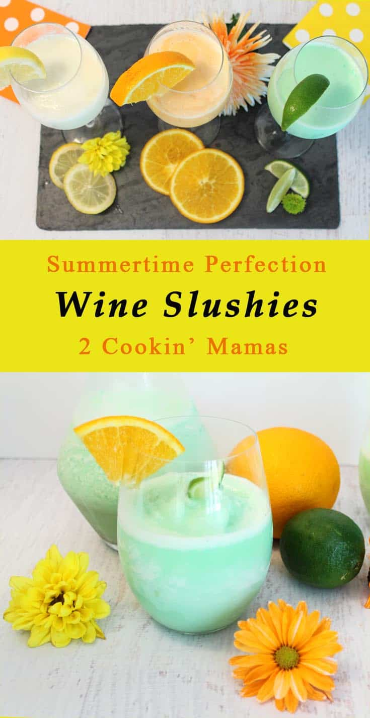 Wine Slushies | 2 Cookin' Mamas The perfect cocktail to keep you cool this summer! Make your own version as easy as 1-2-3. #recipe
