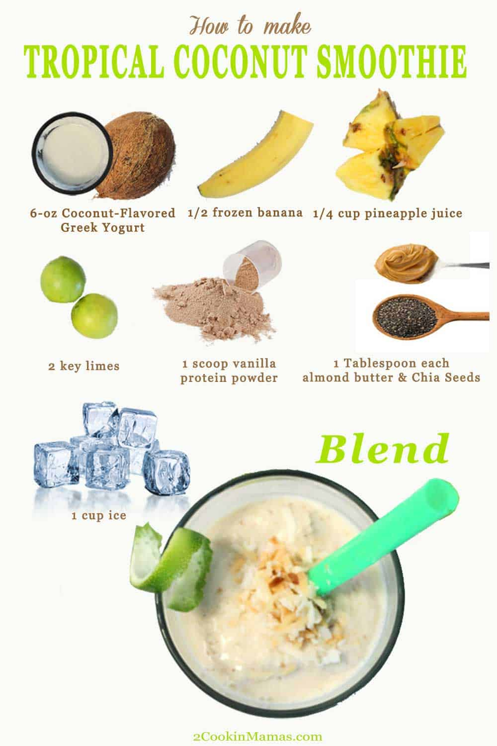 How to make a tropical coconut smoothie | 2 Cookin Mamas Our Tropical Coconut Smoothie is an energy boosting, healthy smoothie with all the flavors of the islands. Think coconut, pineapple, banana & limes. And all it takes is 5 minutes! Yum! #smoothie #tropical #healthy #breakfast #coconutsmoothie #recipe #yogurt #banana #pineapple #lime