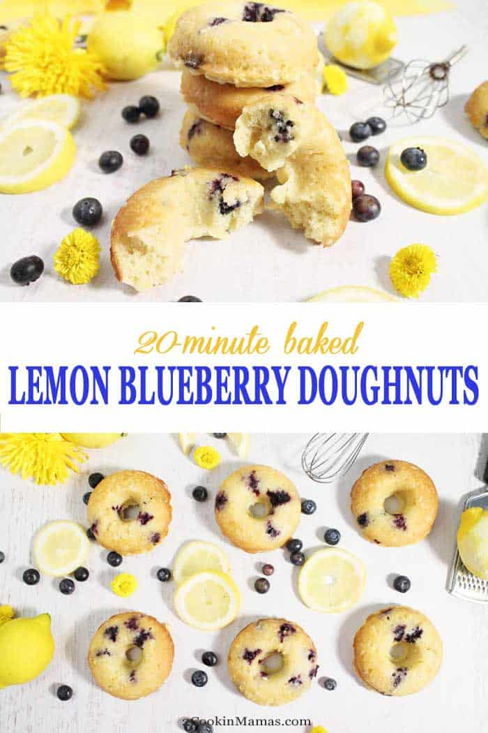 Lemon Blueberry Doughnuts | 2 Cookin Mamas Start your day with easy & delicious, baked (not fried) lemon blueberry doughnuts. Soft, moist cake doughnuts, full of tasty blueberries and dipped into an oh-so-sweet lemon glaze. They come together in less than 20 minutes and are great for breakfast, an afternoon snack or a quick dessert. #doughnuts #lemondoughnuts #blueberrydoughnuts #donuts #breakfast #easyrecipe