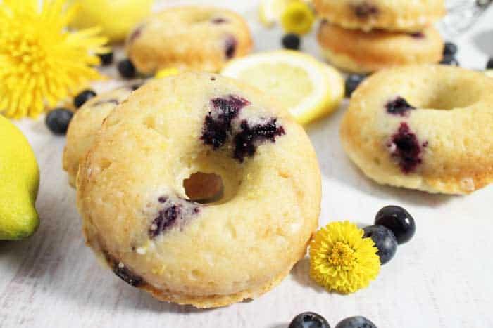 Lemon Blueberry Doughnuts closeup wide